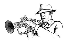 Drawing of a musician playing trumpet Stock Photos