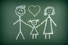 Drawing of muslim family with chalk on blackboard Royalty Free Stock Photos