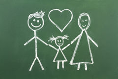 Drawing of muslim family with chalk on blackboard Royalty Free Stock Images