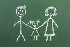Drawing of muslim family with chalk on blackboard Stock Image