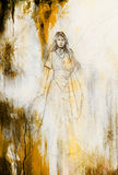 Drawing of mystical angel woman in beautiful historic dress. Royalty Free Stock Photo