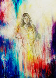 Drawing of mystical angel woman in beautiful historic dress. Royalty Free Stock Image