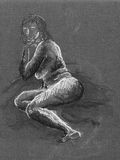 Drawing of naked woman. Drawing of naked lying woman Royalty Free Stock Photography