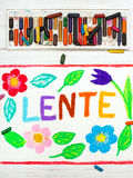 Drawing: Nederlands words LENTE Spring Stock Photo