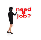 Drawing  need a job. Businesswoman drawing  need a job Royalty Free Stock Images