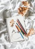 Drawing notepad, colored pencils, dried leaves of oak, headphones in bed, top view. Weekend cozy leisure concept. Flat lay. Stock Photo