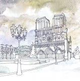 Drawing of Notre Dame de Paris, France Stock Images