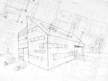 Drawing od a modern building, architecture plans Stock Images