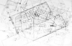 Drawing od a modern building, architecture plans Royalty Free Stock Photography