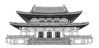 Free Drawing Of Japanese Style Buddhist Temple Royalty Free Stock Image - 102731806