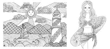 Drawing Of Lighthouse And Sexy Lady On The Beach For Adult Coloring Book,coloring And Other Deign Element. Vector Illustration Stock Photo