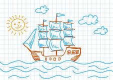 Free Drawing Of Sailboat Royalty Free Stock Images - 22447919