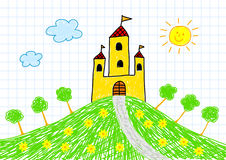 Drawing Of Yellow Castle Royalty Free Stock Photo