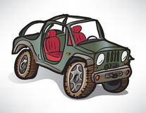 Drawing off-road vehicle jeep khaki Royalty Free Stock Image