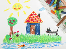 Drawing oil pastels Royalty Free Stock Images