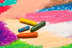 Drawing and oil pastels crayons, texture for background. Photo of colorful drawing and oil pastels crayons, texture for background. Selective focus Royalty Free Stock Photos