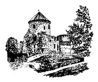 Drawing an old castle in Cesis  hand-drawn  illustration Stock Photos