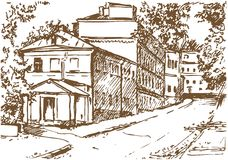 Drawing of an Old City Stock Photography