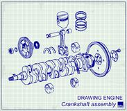 Drawing old engine, Crankshaft assembly Royalty Free Stock Photo