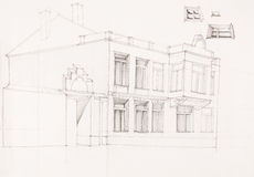 Drawing of old house facade Stock Photos