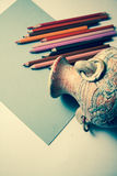 Drawing old vase with pencils Royalty Free Stock Photo