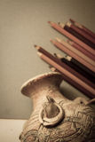 Drawing old vase with pencils Royalty Free Stock Image