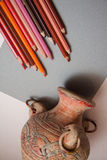 Drawing old vase with pencils Stock Photography