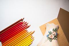 Drawing old vase with pencils Royalty Free Stock Images