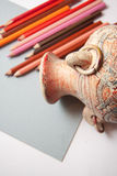 Drawing old vase with pencils Stock Photo