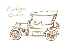 Drawing of old vintage car. Isolated on white background Royalty Free Stock Images