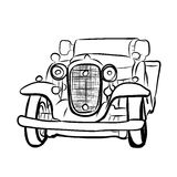 Drawing of old vintage car Stock Image