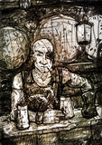 Drawing of One-eyed Bald Pirate-innkeeper Stock Photo