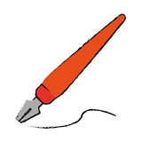 Drawing orange fountain pen write ink style work Stock Images