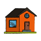 Drawing orange house home property round window Royalty Free Stock Photography