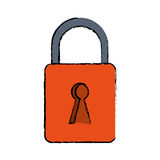 Drawing orange padlock lock secure digital Stock Images
