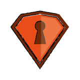Drawing orange shield protection security technology Royalty Free Stock Photo
