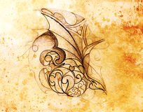 Drawing of ornament and dragon head on old paper. Color effect. Drawing of ornament and dragon head on old paper. Color effect Stock Photos