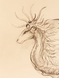 Drawing of ornamental animal on old paper background. Royalty Free Stock Photo