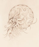 Drawing of ornamental animal on old paper background. Royalty Free Stock Images