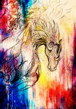 Drawing of ornamental animal on old paper background computer collage. and color structure. Royalty Free Stock Photos