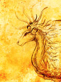 Drawing of ornamental animal on old paper background  and sepia color structure. Stock Images