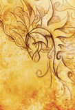 Drawing of ornamental animal on old paper background  and sepia color structure. Stock Photography