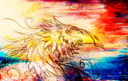Drawing of ornamental dragon on old paper background computer collage. and color structure. Royalty Free Stock Photography