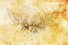 Drawing of ornamental phoenix on old paper background  and sepia color structure. Royalty Free Stock Photography