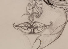 Drawing ornamental woman lips, pencil sketch on paper, sepia and vintage effect. Stock Image