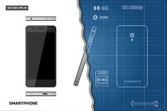 Drawing of outline smartphone. Industrial blueprint. Phone views: side, front, back. Touch telephone with the camera Royalty Free Stock Photos