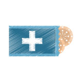 Drawing package with medical band aid. Illustration eps 10 Royalty Free Stock Photo