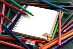 Drawing-pad and color pencils Royalty Free Stock Photos