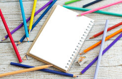 Drawing-pad and color pensils Stock Image