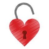 Drawing padlock shaped heart loved Royalty Free Stock Photo